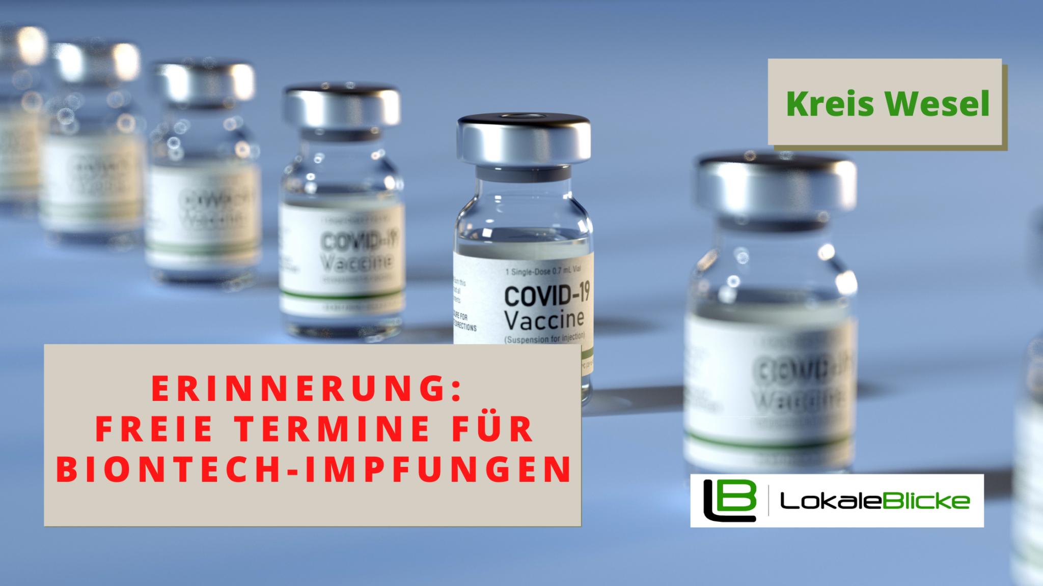 Erinnerung: Freie Termine für BionTech-Impfungen